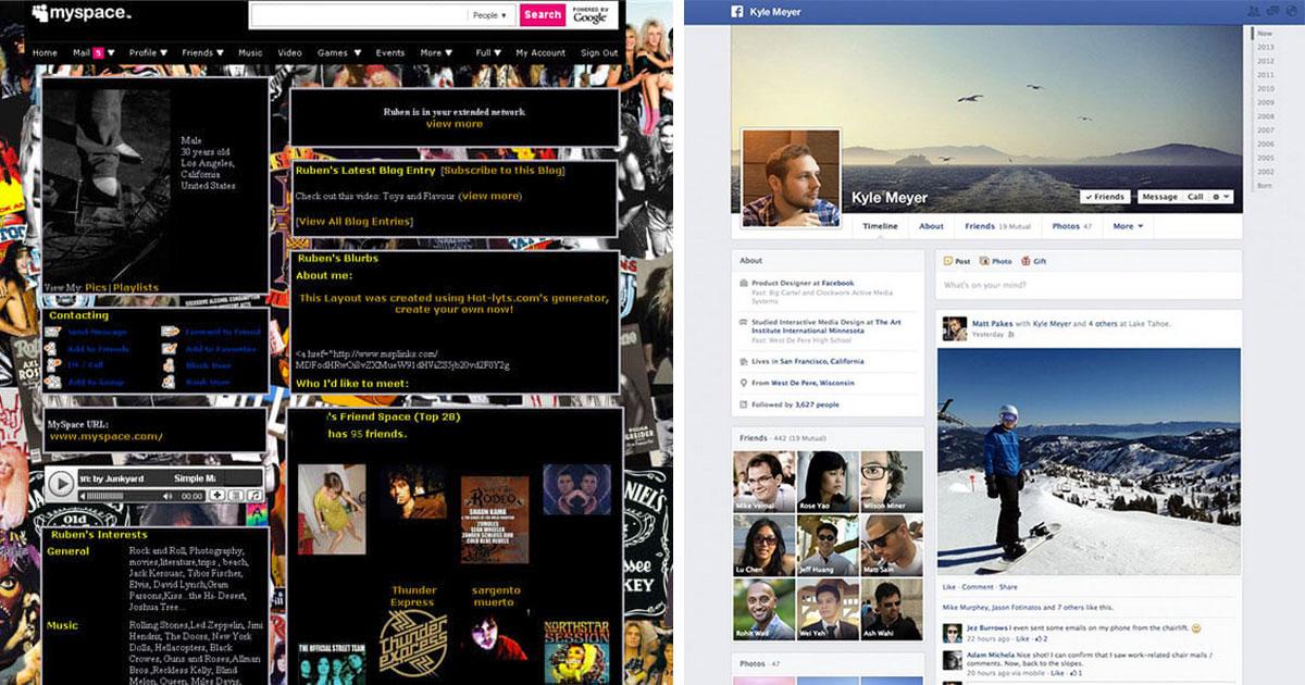 Myspace vroeger vs Facebook tegenwoordig.